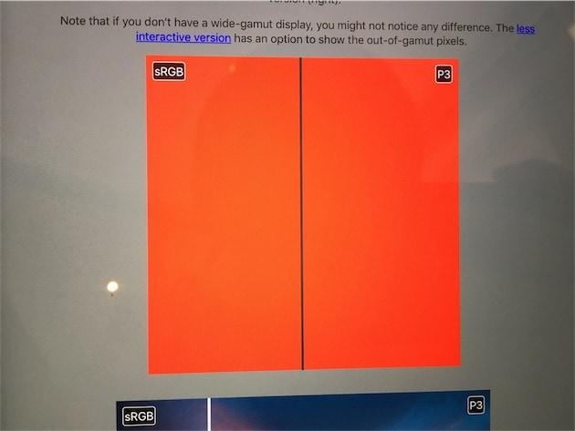Sur cet iPad plus ancien et son écran sRGB, on voit la même chose des deux côtés. — Cliquer pour agrandir