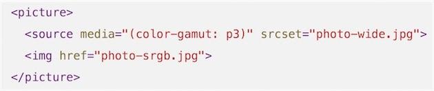 Voici comment un site web pourra afficher une image P3 uniquement pour les utilisateurs qui auront un écran compatible. Sinon, une image sRGB sera affichée en toute transparence.