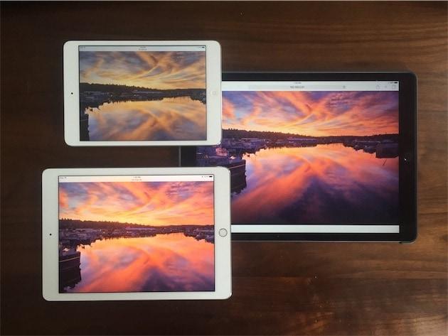 La même photo sur trois écrans différents. En bas à gauche, l'iPad Pro 9,7pouces et son écran P3 affiche le meilleur rendu. (Via@chockenberry)