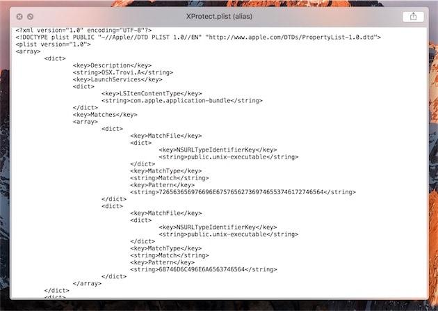 XProtect n'a pas fait son travail de protection, alors que le fichier (ici sur un autre Mac) contient bien une référence au malware en question (Trovi).