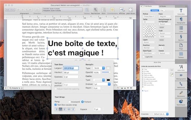 Une boite de texte et ses paramètres dans Mellel3.5. — Cliquer pour agrandir