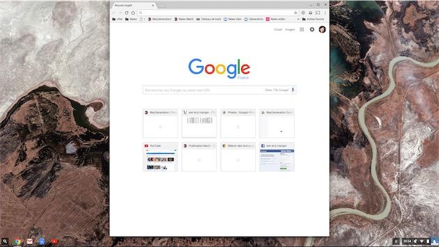 Quand on ouvre une app sur Chrome OS, la fenêtre passe par défaut au milieu si l'écran est suffisamment défini.