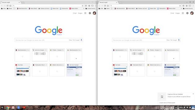 En ouvrant une deuxième fenêtre, Chrome OS répartit les deux côte à côte si la définition est suffisante.