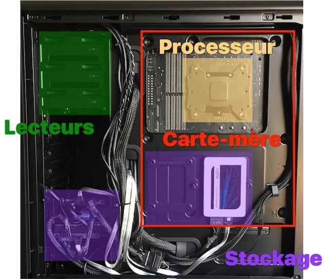 De l'autre côté du boîtier, des emplacements pour ranger les câbles et deux emplacements dédiés aux SSD. Cliquer pour agrandir