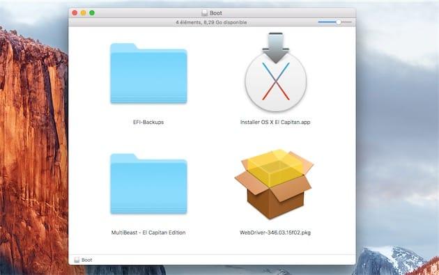 Sur la clé USB d'installation, vous devrez avoir au moins le fichier d'installation d'OS X, MultiBeast et les WebDriver Nvidia. Cliquer pour agrandir