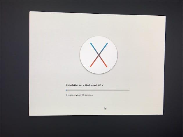 L'étape la plus normale : installation d'OS X avec l'interface graphique d'Apple.