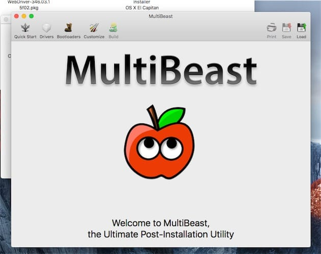 Panneau d'accueil de MultiBeast.