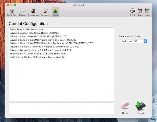 MultiBeast résume tout ce que vous allez installer ou modifier. Quand vous êtes satisfait de la configuration, cliquez sur le bouton Install pour terminer la première étape de la configuration. Cliquer pour agrandir