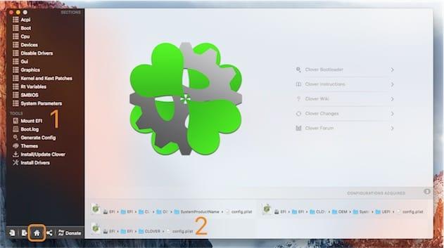 Pour modifier les paramètres sur votre hackintosh, montez d'abord la partition EFI (1) puis cliquez sur l'icône en forme de maison en bas à gauche (encadré) et enfin sur le fichier EFI/EFI/Clover/config.plist (2). Cliquer pour agrandir