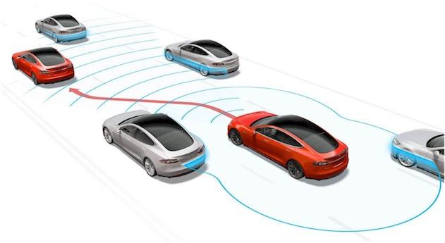 La ModelS est bardée de capteurs chargés de surveiller en permanence les objets autour du véhicule, à commencer par les autres voitures.