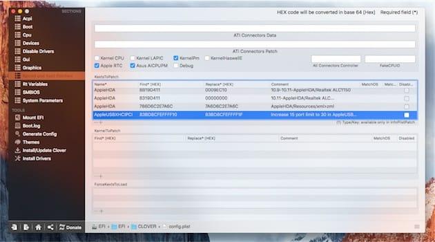 Ce paramètre double le nombre de ports USB qui peuvent être reconnus par OS X. Cliquer pour agrandir