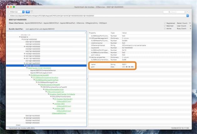 Identification manuelle des ports USB avec, encadré en orange, les deux informations à noter pour chaque port. Cliquer pour agrandir