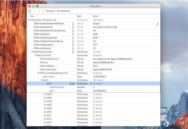 Modification du fichier qui configure correctement les 15 ports USB que vous souhaitez garder. Cliquer pour agrandir