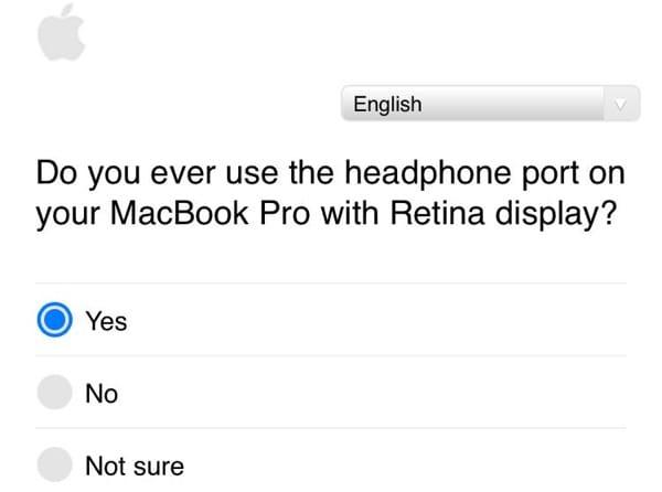 Extrait du sondage envoyé par Apple.