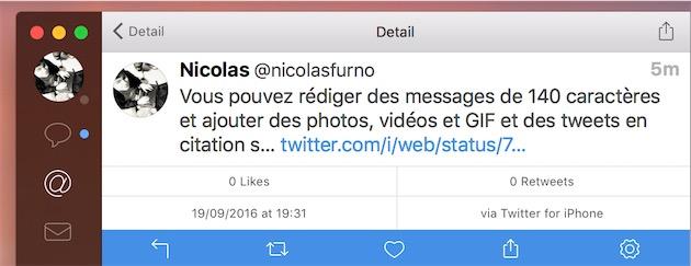 Le même tweet, affiché dans Tweetbot. Ce client tiers devra être mis à jour pour afficher tout le contenu.