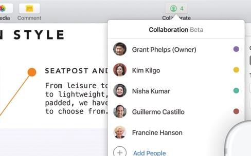 Collaboration en temps réel dans Pages, Numbers et Keynote et autres nouveautés