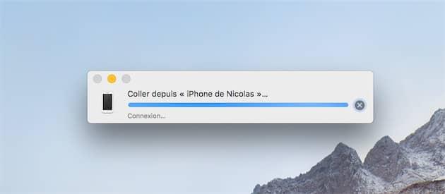 Ce type de boîte de dialogue s'affiche parfois sur les Mac, quand le presse-papier universel est activé. Cliquer pour agrandir