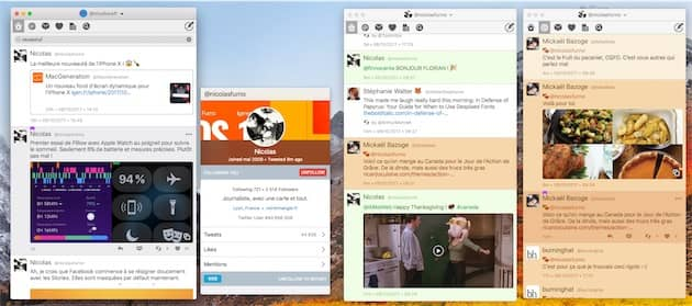 Twitterrific permet de fonctionner avec une seule fenêtre unique, ou une multitude de fenêtres. Vous pouvez afficher la même information dans chaque fenêtre, ou bien utiliser différentes sections et différents comptes à chaque fois. Cliquer pour agrandir