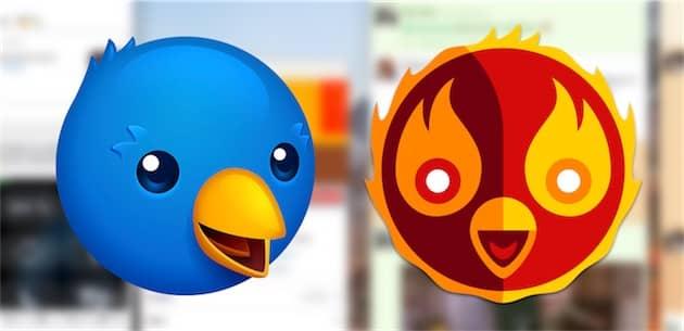 Les deux icônes proposées par Twitterrific: standard à gauche, celle du projet Phoenix à droite. Cliquer pour agrandir