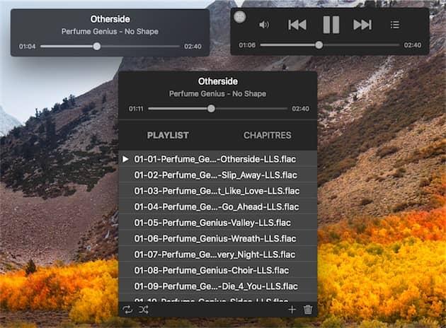 Le nouveau mode musique d'IINA. En haut à gauche, quand il fonctionne à l'arrière-plan; en haut à droite, les contrôles sont affichés au survol du curseur. En bas, la vue complète, avec tous les titres dans la liste de lecture. Cliquer pour agrandir