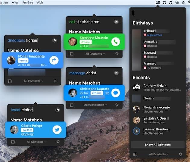 L'interface de Cardhop à droite. À gauche, quelques actions rapides proposées par l'app: appeler, envoyer un message, obtenir un itinéraire ou encore composer un tweet. Cliquer pour agrandir