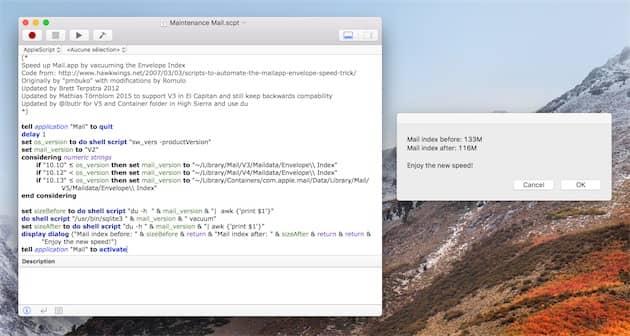 Le script dans sa dernière version à gauche, la fenêtre qui s'affiche après exécution à droite. Cliquer pour agrandir