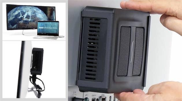 L'appareil peut être discrètement maintenu derrière un écran avec un support VESA en option. Cliquer pour agrandir