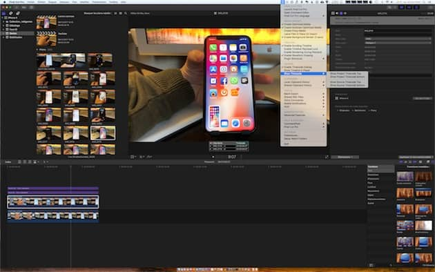 CommandPost prend place dans la barre des menus et l'app ajoute de multiple commandes et options à Final Cut Pro. Cliquer pour agrandir