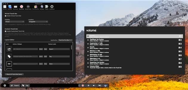 L'une des fonctions de CommandPost: modifier les boutons affichés sur la TouchBar pendant l'utilisation de FinalCutPro. Cliquer pour agrandir
