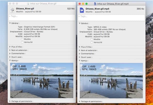 Un GIF de près de 9Mo pèse moins de 400Ko une fois convertie en vidéo H264. Cliquer pour agrandir