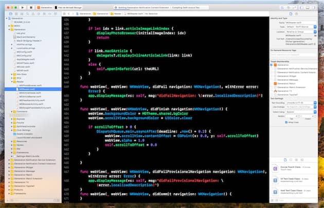 Xcode9.2 pendant la compilation de notre app iOS. Cliquer pour agrandir