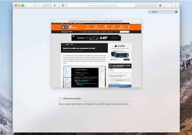 Le filtre, affiché en haut à droite de l'écran, permet de retrouver rapidement un onglet ouvert dans la fenêtre en cours. Il permet aussi aussi de trouver un onglet ouvert sur un autre appareil iOS ou un autre Mac, grâce aux onglets iCloud (affichés en bas) Cliquer pour agrandir