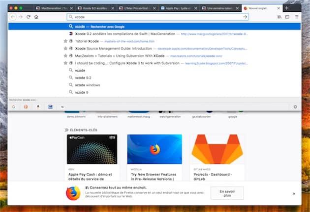 Firefox dispose d'une fonction similaire, mais elle est intégrée de façon plus simple que dans Safari: si un onglet ouvert correspond à la recherche, il est affiché en premier dans la liste de résultats. Cliquer pour agrandir