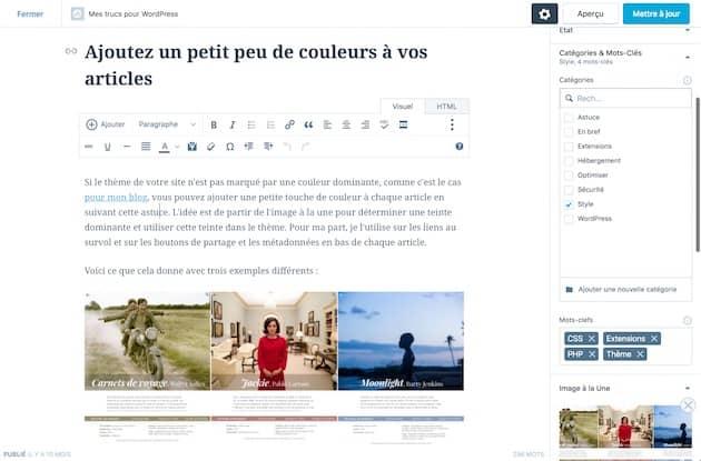 Édition d'un article sur un site généré avec WordPress. Cliquer pour agrandir