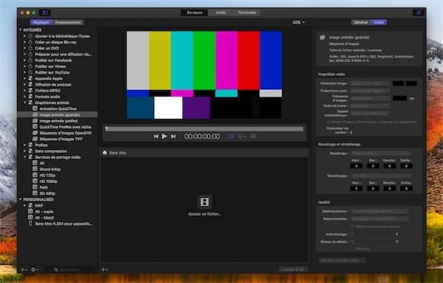 L'une des nouveautés plus discrètes dans Compressor4.4: la possibilité d'exporter une vidéo en GIF. Cliquer pour agrandir