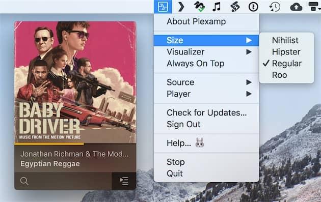 Plexamp joue la carte de la discrétion. L'app n'apparaît pas dans le Dock, uniquement dans la barre des menus de macOS. Par ailleurs, sa fenêtre est toute petite (ici, taille par défaut). Cliquer pour agrandir
