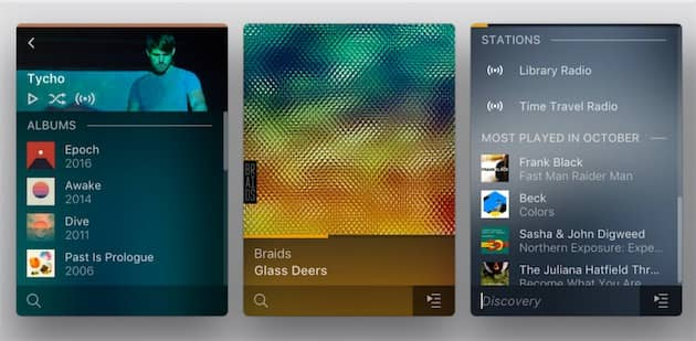 Sur ces captures fournies par l'éditeur, on voit les stations de radio générées par Plex: pour un artiste à gauche (icône à côté de l'aléatoire) et dans la recherche à droite. Cliquer pour agrandir