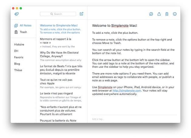 Simplenote pour macOS.