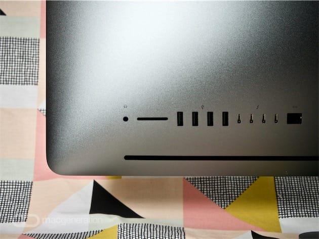Les ports, de gauche à droite: prise jack 3,5mm, carte SD, quatre USB 3.1 au format USB-A, quatre Thunderbolt 3 au format USB-C, un Ethernet 10 GbE.