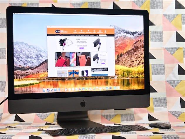 L'iMac Pro que nous testons: Intel Xeon W octacœur à 3,2GHz, 32Go de mémoire ECC à 2 666MHz, 1To de SSD, AMD Radeon Pro Vega 56 avec 8Go de mémoire HBM2.