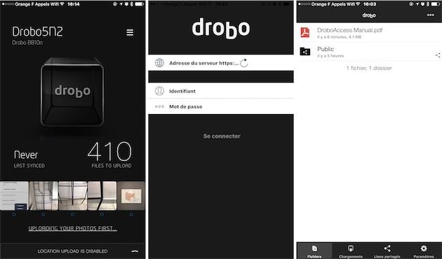 Drobo Access et Drobo Pix sur iOS.