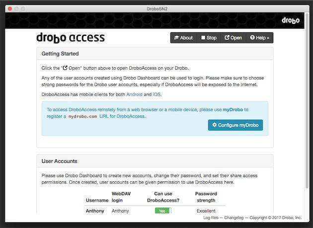 Le paramétrage de myDrobo et Drobo Access dans le Drobo Dashboard.