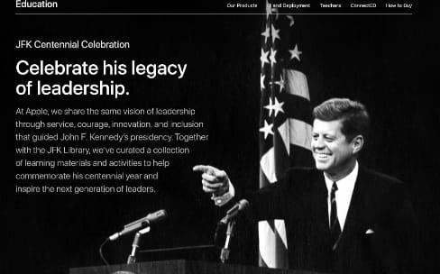 Apple rassemble du contenu éducatif pour le centenaire de JFK