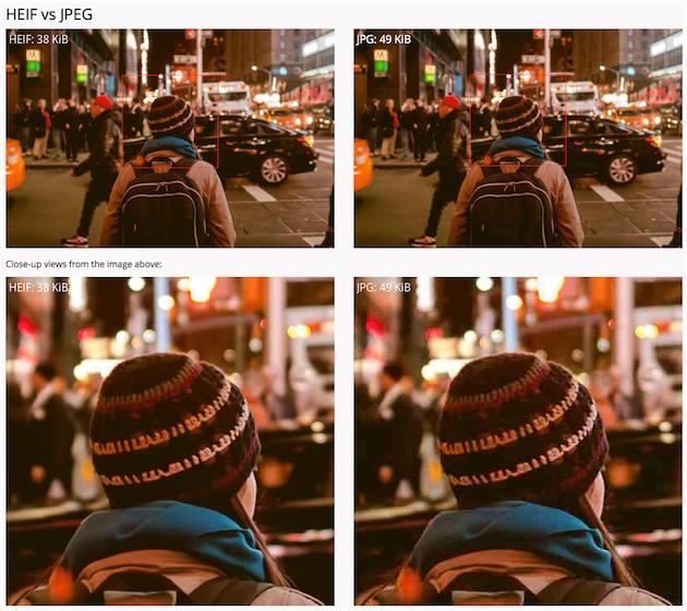 HEIF contre JPEG. À qualité constante (en bas), le HEIF pèse 20% de moins que le JPEG. Les images prises avec un iPhone sont environ deux fois plus légères en HEIF qu'en JPEG. Image Nokia Technologies, qui propose plusieurs comparaisons du genre sur son site dédié au HEIF.