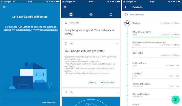 De gauche à droite : la première étape de la configuration du système Google Wifi, la page d'accueil une fois le système opérationnel, le moniteur des appareils connectés. Comme toutes les applications de Google, l'application Google Wifi ignore les codes esthétiques d'iOS au profit de ceux d'Android.
