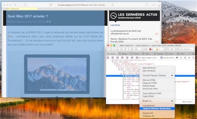 Nouvelle commande dans le menu contextuel de l'inspecteur web pour prendre une capture d'écran. Ici, on ne garde que l'article sur la page, l'inspecteur le met d'ailleurs en avant en affichant la zone en bleu. Cliquer pour agrandir