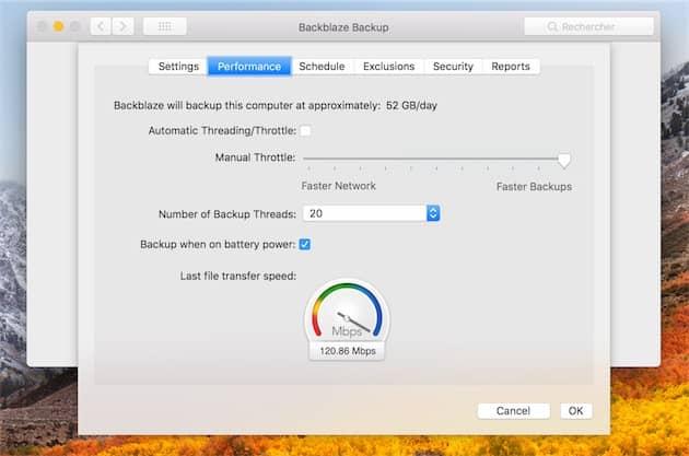 Les réglages de Backblaze, ici sur macOS, permettent de débrider totalement l'utilitaire. L'ancienne version se contentait au maximum de 10 threads pour la sauvegarde. Cliquer pour agrandir