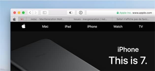 Safari dispose d'une fonction spécifique pour conserver en permanence un site dans la barre d'onglets, ici à gauche. Cette fonction n'utilise pas le favicon du site toutefois, mais une icône spécifique que très peu de sites prennent en charge. Cliquer pour agrandir