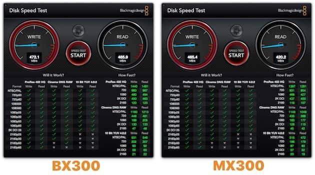 Vitesses mesurées avec BlackMagic Disk Speed Test sur les deux gammes de SSD Crucial. Cliquer pour agrandir