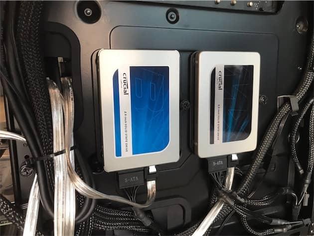 Crucial BX300 à gauche, MX300 à droite. Cliquer pour agrandir